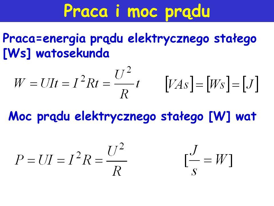 Praca i moc prądu Praca=energia prądu elektrycznego stałego [Ws] watosekunda.